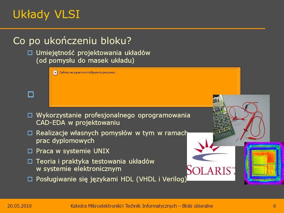 20.05.2010Katedra Mikroelektroniki i Technik Informatycznych – Bloki obieralne6 Układy VLSI Co po ukończeniu bloku.