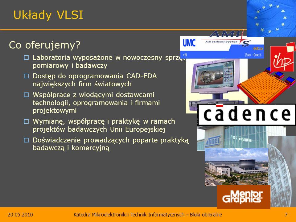 20.05.2010Katedra Mikroelektroniki i Technik Informatycznych – Bloki obieralne7 Układy VLSI Co oferujemy.
