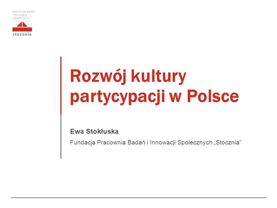 """Rozwój kultury partycypacji w Polsce Ewa Stokłuska Fundacja Pracownia Badań i Innowacji Społecznych """"Stocznia"""