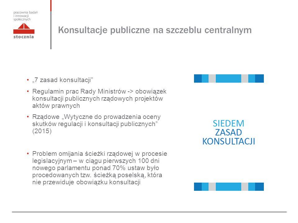"""Konsultacje publiczne na szczeblu centralnym """"7 zasad konsultacji Regulamin prac Rady Ministrów -> obowiązek konsultacji publicznych rządowych projektów aktów prawnych Rządowe """"Wytyczne do prowadzenia oceny skutków regulacji i konsultacji publicznych (2015) Problem omijania ścieżki rządowej w procesie legislacyjnym – w ciągu pierwszych 100 dni nowego parlamentu ponad 70% ustaw było procedowanych tzw."""