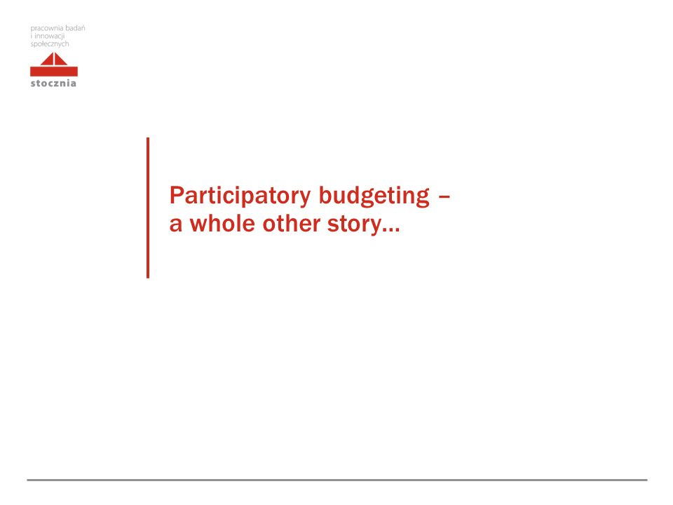 Participatory budgeting – a whole other story…