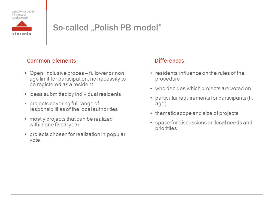 "So-called ""Polish PB model residents' influence on the rules of the procedure who decides which projects are voted on particular requirements for participants (fi."