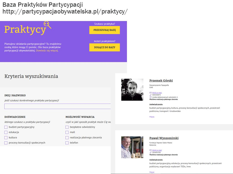 Baza Praktyków Partycypacji http://partycypacjaobywatelska.pl/praktycy/