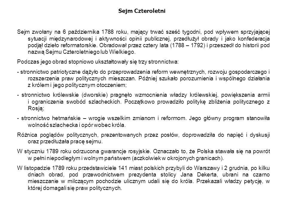 """Sejm Czteroletni """"Czarna procesja wzbudziła strach wśród magnaterii i zwolenników stronnictwa hetmańskiego."""