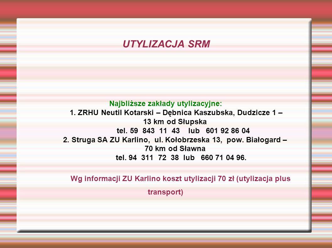 UTYLIZACJA SRM Najbliższe zakłady utylizacyjne: 1.