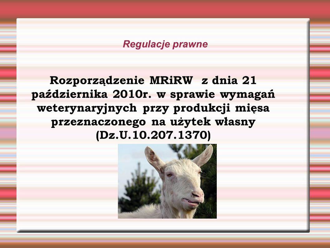 Regulacje prawne Rozporządzenie MRiRW z dnia 21 października 2010r.