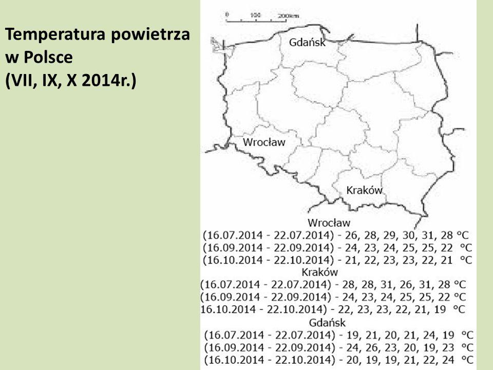 Temperatura powietrza w Polsce (VII, IX, X 2014r.)
