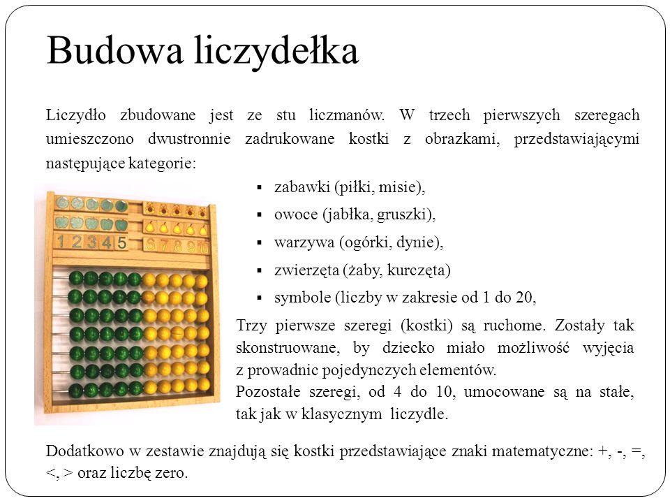 Budowa liczydełka  zabawki (piłki, misie),  owoce (jabłka, gruszki),  warzywa (ogórki, dynie),  zwierzęta (żaby, kurczęta)  symbole (liczby w zakresie od 1 do 20, Trzy pierwsze szeregi (kostki) są ruchome.