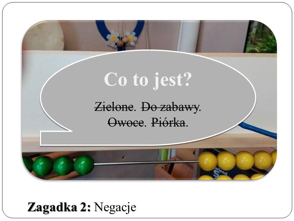 Zagadka 2: Zagadka 2: Negacje Co to jest. Zielone.