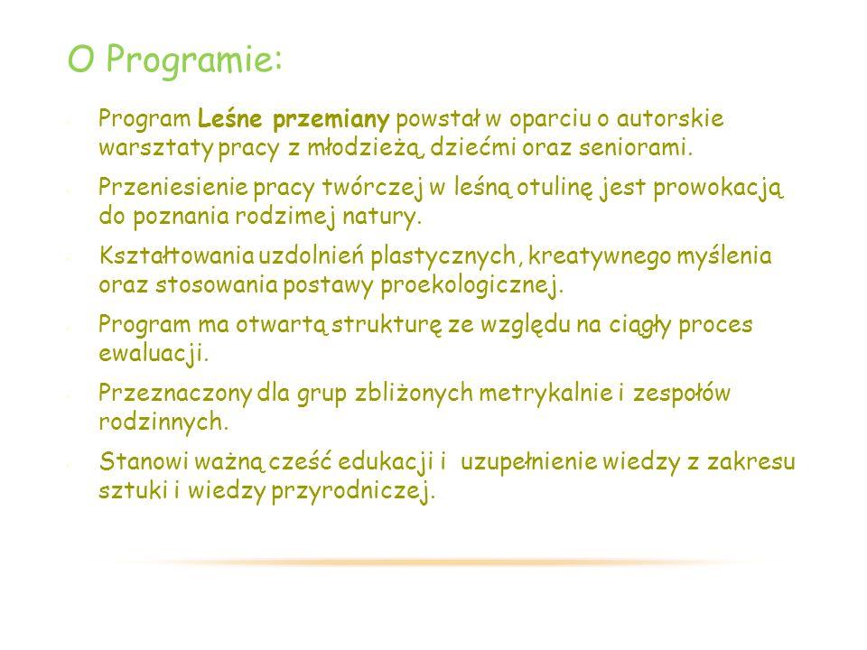 O Programie: Program Leśne przemiany powstał w oparciu o autorskie warsztaty pracy z młodzieżą, dziećmi oraz seniorami.