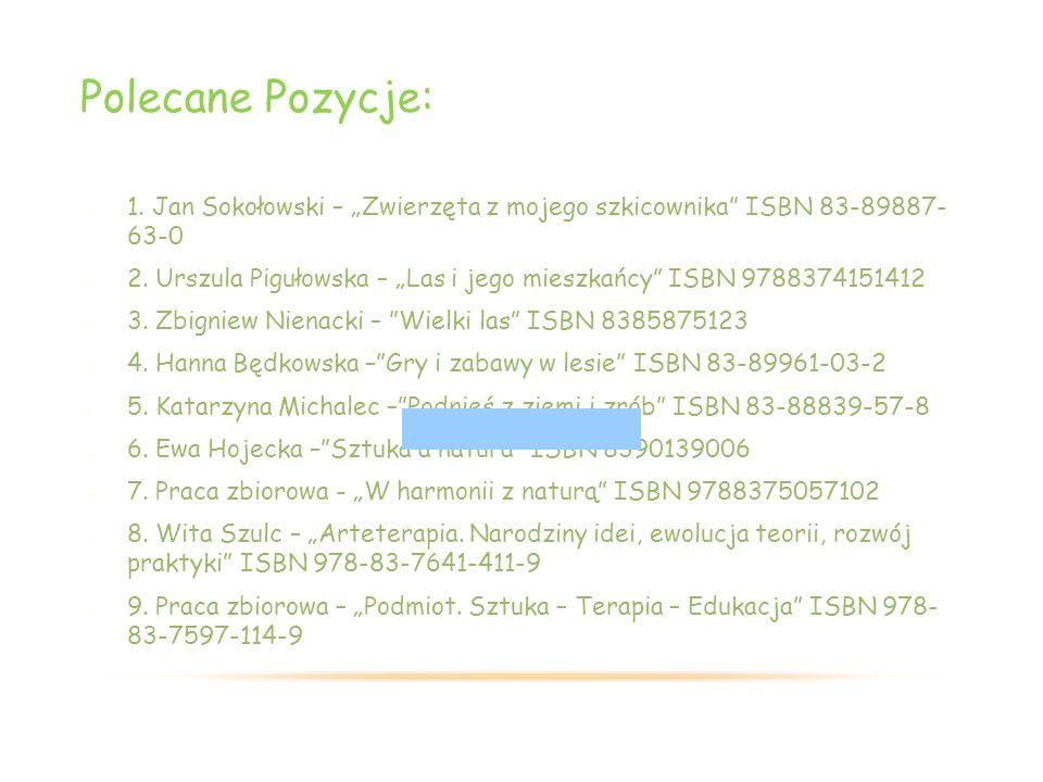 """Polecane Pozycje: 1. Jan Sokołowski – """"Zwierzęta z mojego szkicownika ISBN 83-89887- 63-0 2."""