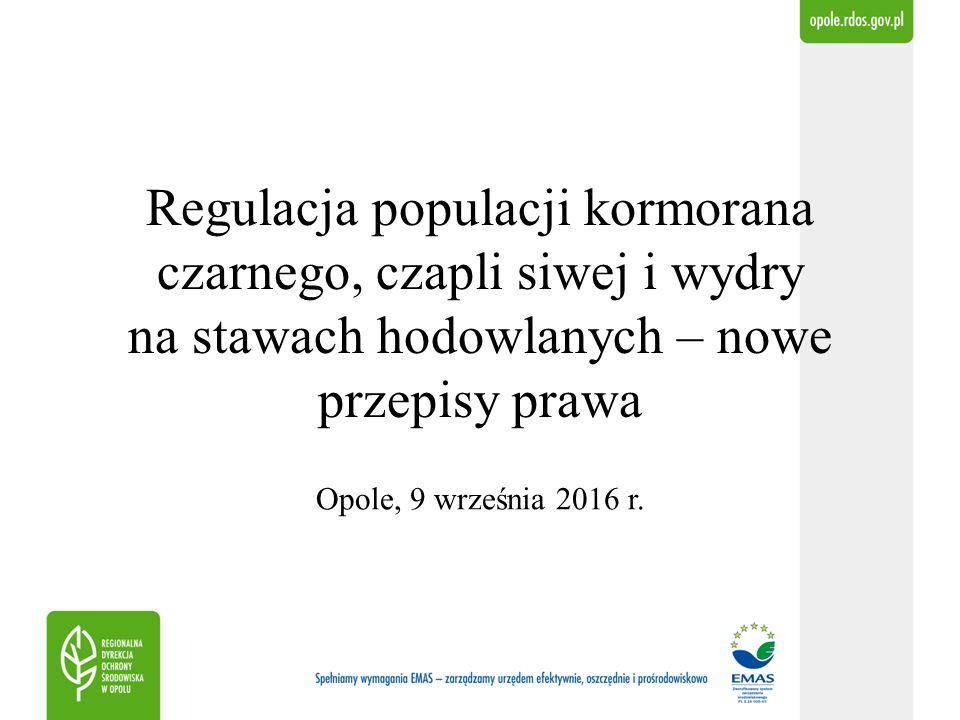 Regulacja populacji kormorana czarnego, czapli siwej i wydry na stawach hodowlanych – nowe przepisy prawa Opole, 9 września 2016 r.