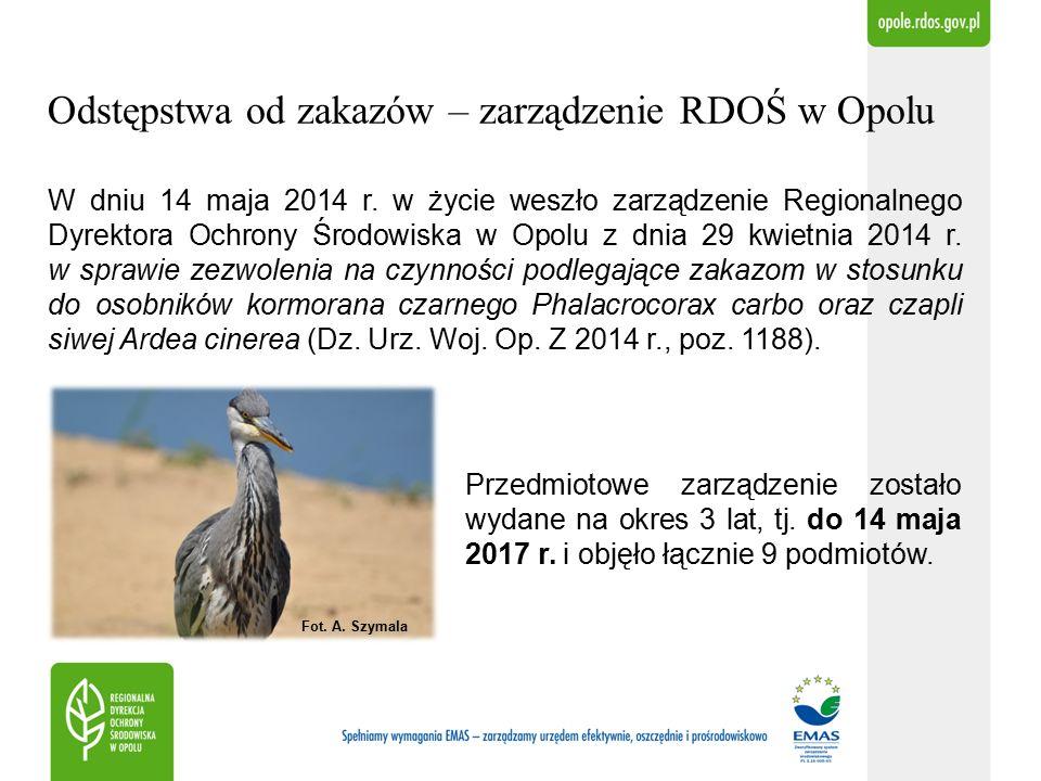 Odstępstwa od zakazów – zarządzenie RDOŚ w Opolu W dniu 14 maja 2014 r.