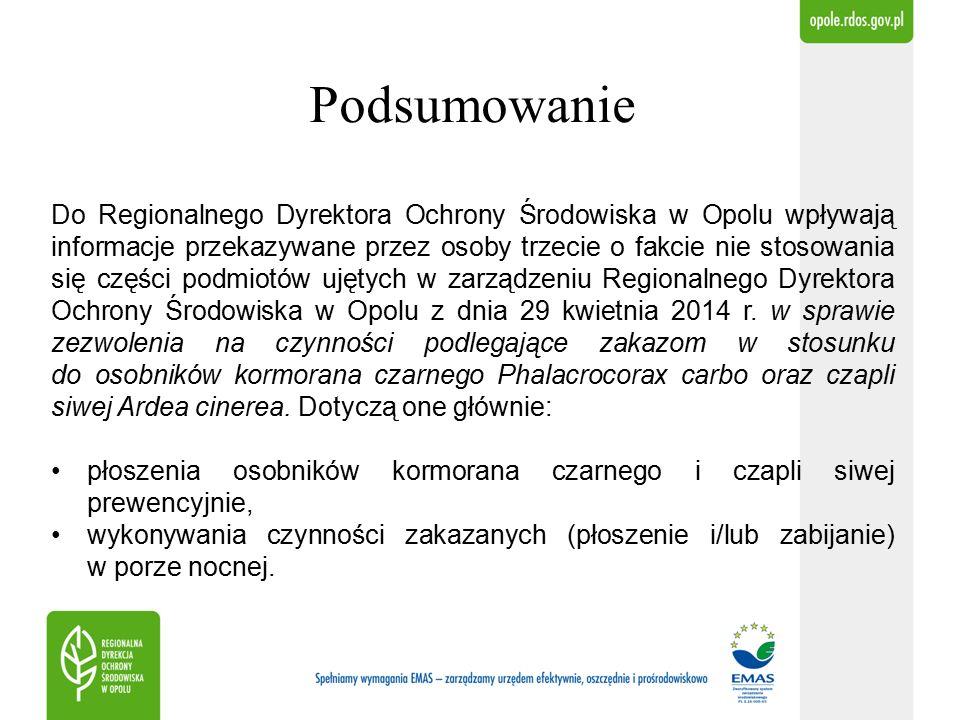 Podsumowanie Do Regionalnego Dyrektora Ochrony Środowiska w Opolu wpływają informacje przekazywane przez osoby trzecie o fakcie nie stosowania się części podmiotów ujętych w zarządzeniu Regionalnego Dyrektora Ochrony Środowiska w Opolu z dnia 29 kwietnia 2014 r.