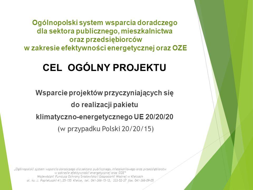 """Wsparcie projektów przyczyniających się do realizacji pakietu klimatyczno-energetycznego UE 20/20/20 (w przypadku Polski 20/20/15) """"Ogólnopolski system wsparcia doradczego dla sektora publicznego, mieszkaniowego oraz przedsiębiorstw w zakresie efektywności energetycznej oraz OZE Wojewódzki Fundusz Ochrony Środowiska i Gospodarki Wodnej w Kielcach al."""