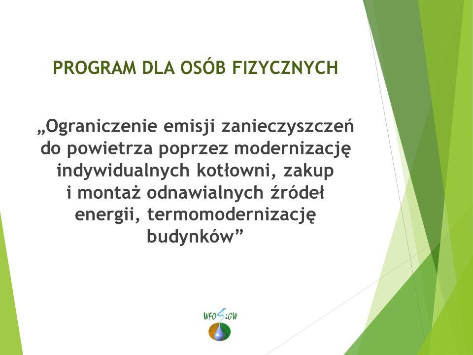 """PROGRAM DLA OSÓB FIZYCZNYCH """"Ograniczenie emisji zanieczyszczeń do powietrza poprzez modernizację indywidualnych kotłowni, zakup i montaż odnawialnych źródeł energii, termomodernizację budynków"""