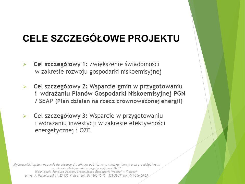 """CELE SZCZEGÓŁOWE PROJEKTU  Cel szczegółowy 1: Zwiększenie świadomości w zakresie rozwoju gospodarki niskoemisyjnej  Cel szczegółowy 2: Wsparcie gmin w przygotowaniu i wdrażaniu Planów Gospodarki Niskoemisyjnej PGN / SEAP (Plan działań na rzecz zrównoważonej energii)  Cel szczegółowy 3: Wsparcie w przygotowaniu i wdrażaniu inwestycji w zakresie efektywności energetycznej i OZE """"Ogólnopolski system wsparcia doradczego dla sektora publicznego, mieszkaniowego oraz przedsiębiorstw w zakresie efektywności energetycznej oraz OZE Wojewódzki Fundusz Ochrony Środowiska i Gospodarki Wodnej w Kielcach al."""