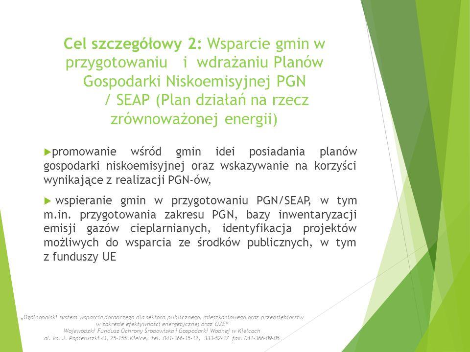 Cel szczegółowy 2: Wsparcie gmin w przygotowaniu i wdrażaniu Planów Gospodarki Niskoemisyjnej PGN / SEAP (Plan działań na rzecz zrównoważonej energii)  promowanie wśród gmin idei posiadania planów gospodarki niskoemisyjnej oraz wskazywanie na korzyści wynikające z realizacji PGN-ów,  wspieranie gmin w przygotowaniu PGN/SEAP, w tym m.in.