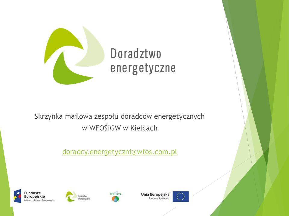 Skrzynka mailowa zespołu doradców energetycznych w WFOŚiGW w Kielcach doradcy.energetyczni@wfos.com.pl