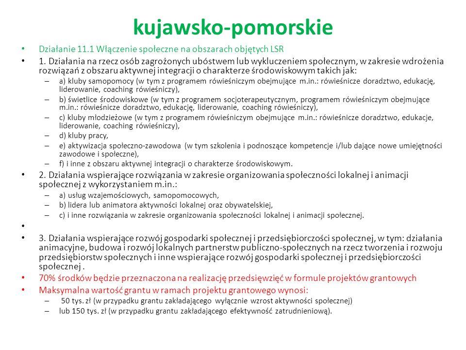kujawsko-pomorskie Działanie 11.1 Włączenie społeczne na obszarach objętych LSR 1.