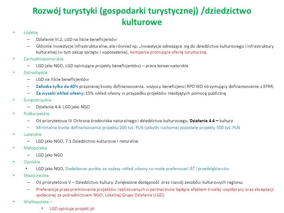 Rozwój turystyki (gospodarki turystycznej) /dziedzictwo kulturowe Łódzkie – Działanie VI.2, LGD na liście beneficjentów – Głównie inwestycje infrastrukturalne, ale również np.