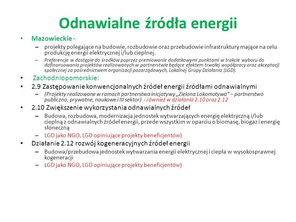 Odnawialne źródła energii Mazowieckie - – projekty polegające na budowie, rozbudowie oraz przebudowie infrastruktury mające na celu produkcję energii elektrycznej i/lub cieplnej.