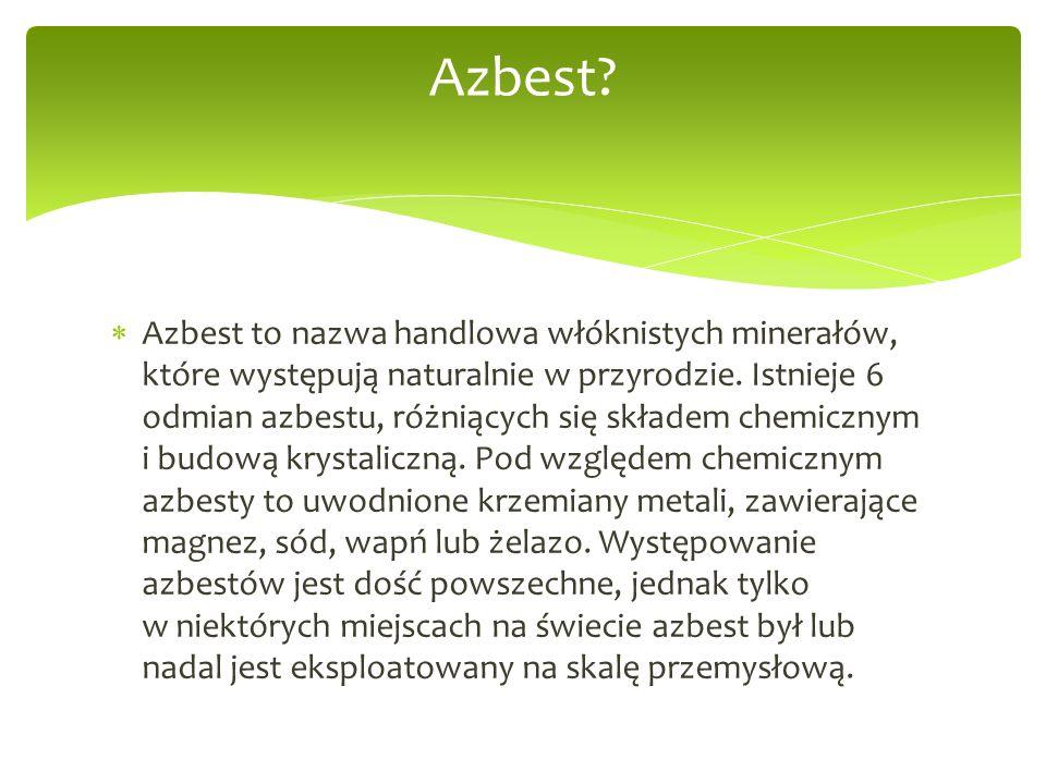  Azbest to nazwa handlowa włóknistych minerałów, które występują naturalnie w przyrodzie.