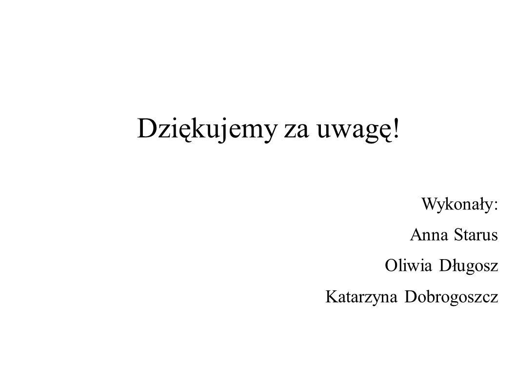 Dziękujemy za uwagę! Wykonały: Anna Starus Oliwia Długosz Katarzyna Dobrogoszcz