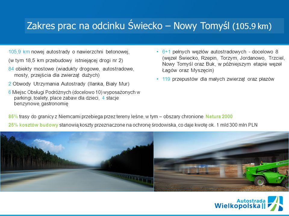 Zakres prac na odcinku Świecko – Nowy Tomyśl (105.9 km) 105,9 km nowej autostrady o nawierzchni betonowej, (w tym 18,5 km przebudowy istniejącej drogi nr 2) 84 obiekty mostowe (wiadukty drogowe, autostradowe, mosty, przejścia dla zwierząt dużych) 2 Obwody Utrzymania Autostrady (Ilanka, Biały Mur) 6 Miejsc Obsługi Podróżnych (docelowo 10) wyposażonych w parkingi, toalety, place zabaw dla dzieci, 4 stacje benzynowe, gastronomię 6+1 pełnych węzłów autostradowych - docelowo 8 (węzeł Świecko, Rzepin, Torzym, Jordanowo, Trzciel, Nowy Tomyśl oraz Buk, w późniejszym etapie węzeł Łagów oraz Myszęcin) 119 przepustów dla małych zwierząt oraz płazów 85% trasy do granicy z Niemcami przebiega przez tereny leśne, w tym – obszary chronione Natura 2000 25% kosztów budowy stanowią koszty przeznaczone na ochronę środowiska, co daje kwotę ok.
