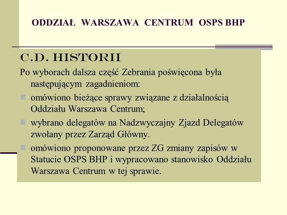 ODDZIAŁ WARSZAWA CENTRUM OSPS BHP C.D.