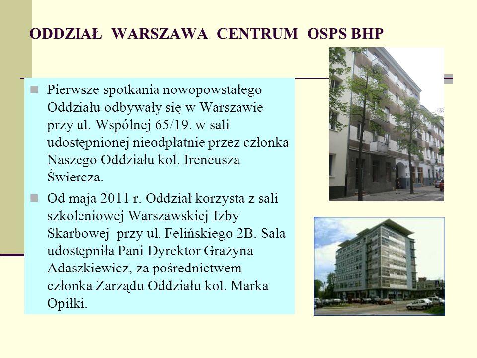 ODDZIAŁ WARSZAWA CENTRUM OSPS BHP Pierwsze spotkania nowopowstałego Oddziału odbywały się w Warszawie przy ul.