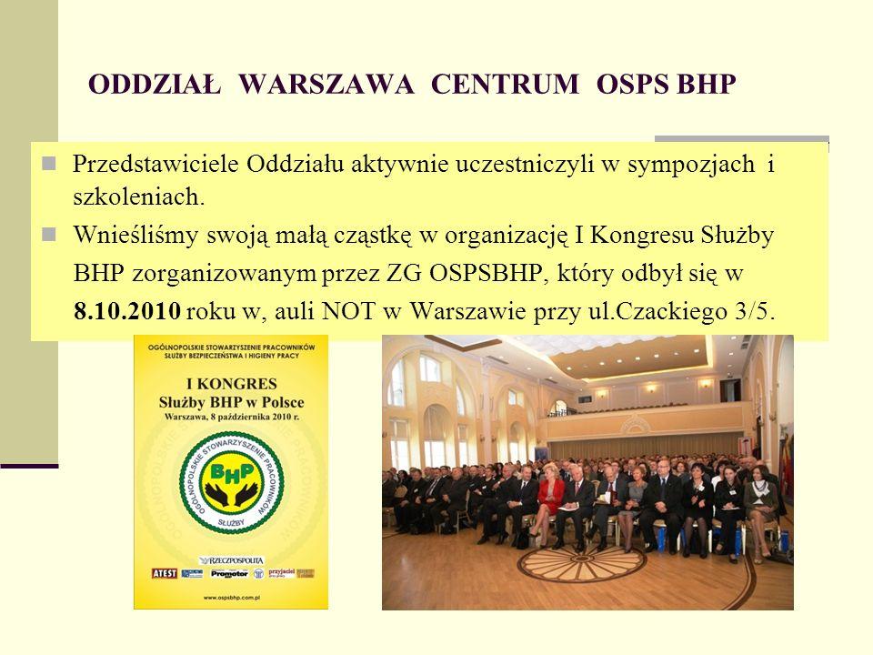 ODDZIAŁ WARSZAWA CENTRUM OSPS BHP Przedstawiciele Oddziału aktywnie uczestniczyli w sympozjach i szkoleniach.