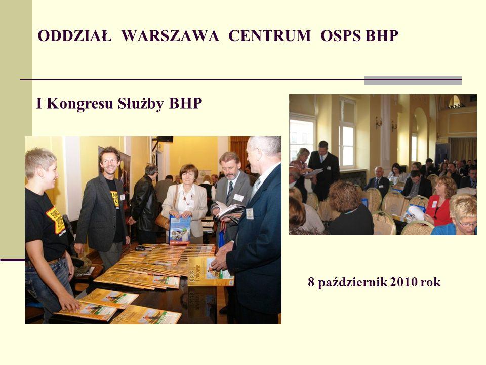 ODDZIAŁ WARSZAWA CENTRUM OSPS BHP I Kongresu Służby BHP 8 październik 2010 rok