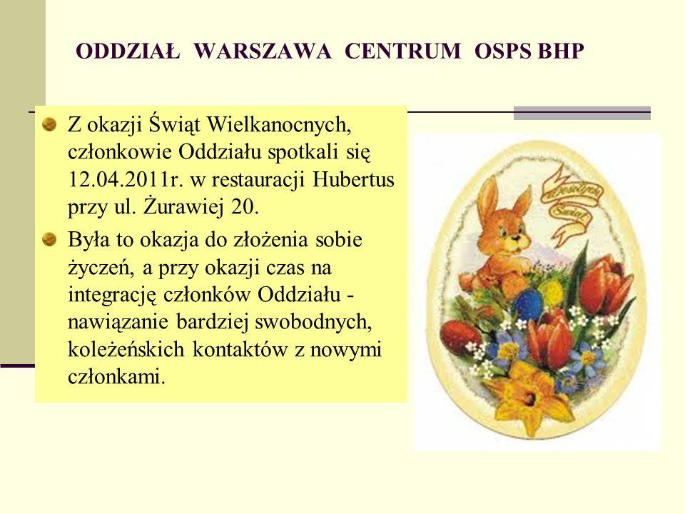 ODDZIAŁ WARSZAWA CENTRUM OSPS BHP Z okazji Świąt Wielkanocnych, członkowie Oddziału spotkali się 12.04.2011r.