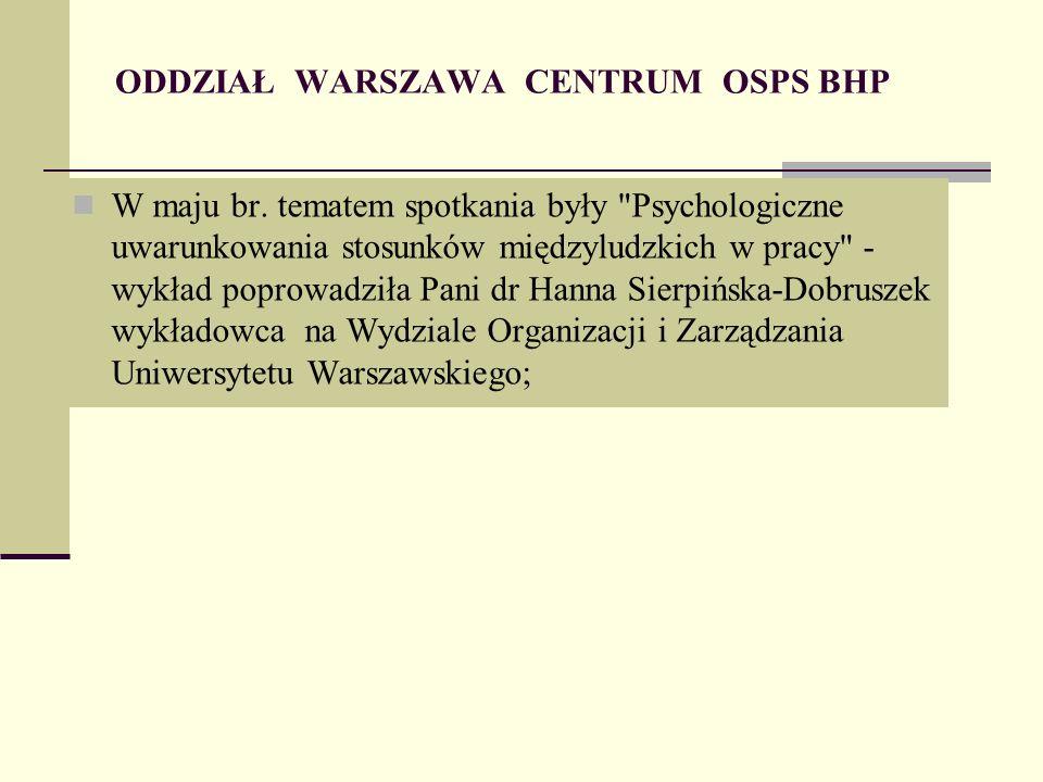 ODDZIAŁ WARSZAWA CENTRUM OSPS BHP W maju br.