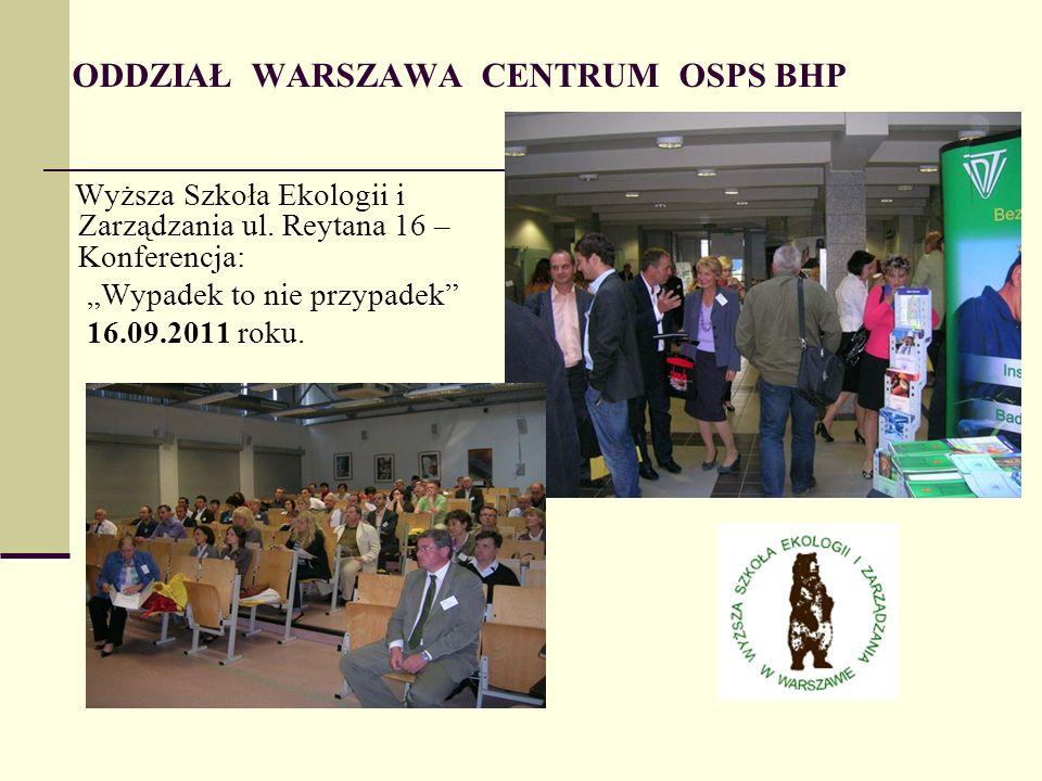 ODDZIAŁ WARSZAWA CENTRUM OSPS BHP Wyższa Szkoła Ekologii i Zarządzania ul.