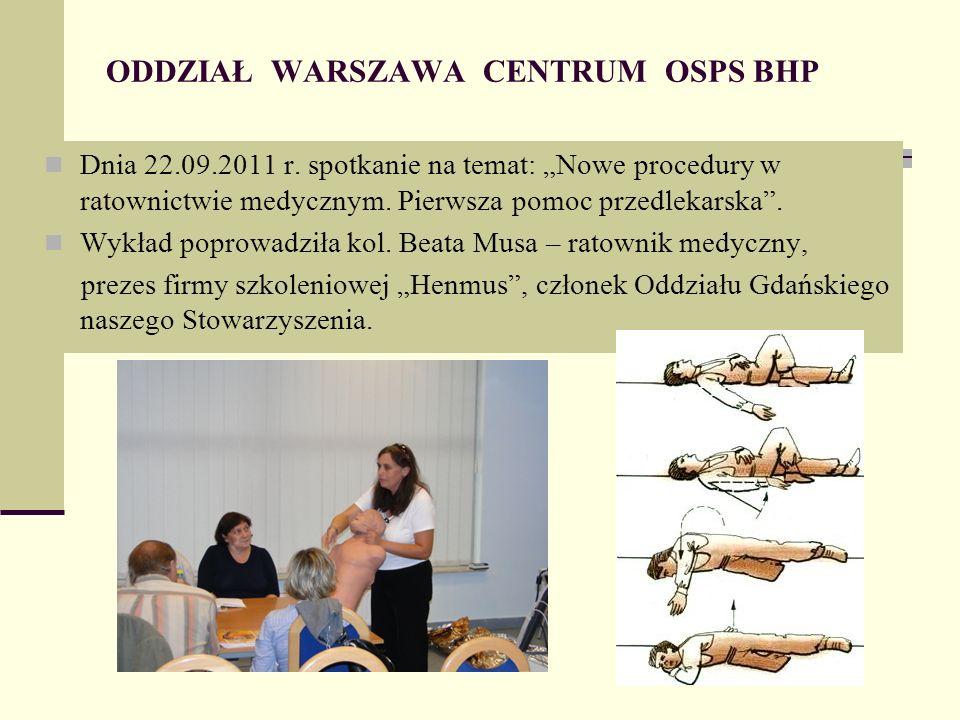 ODDZIAŁ WARSZAWA CENTRUM OSPS BHP Dnia 22.09.2011 r.