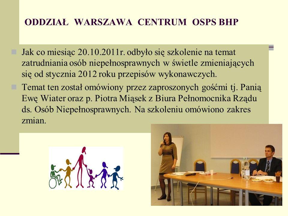 ODDZIAŁ WARSZAWA CENTRUM OSPS BHP Jak co miesiąc 20.10.2011r.