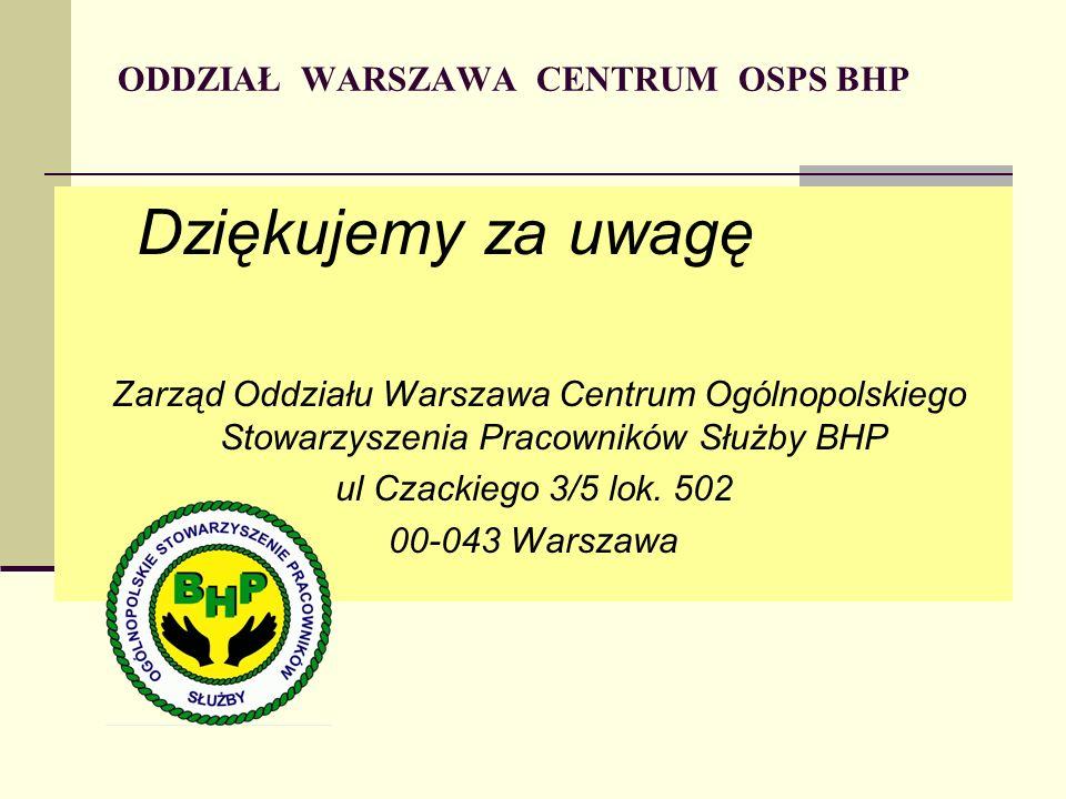 ODDZIAŁ WARSZAWA CENTRUM OSPS BHP Dziękujemy za uwagę Zarząd Oddziału Warszawa Centrum Ogólnopolskiego Stowarzyszenia Pracowników Służby BHP ul Czackiego 3/5 lok.