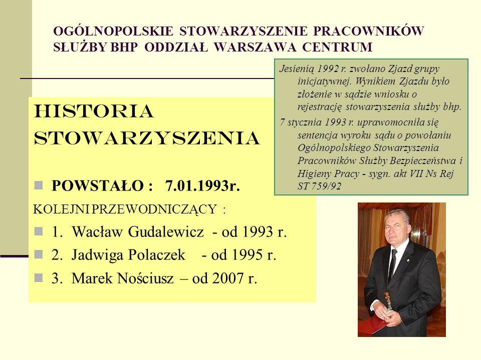 OGÓLNOPOLSKIE STOWARZYSZENIE PRACOWNIKÓW SŁUŻBY BHP ODDZIAŁ WARSZAWA CENTRUM HISTORIA StoWARZYSZENIA POWSTAŁO : 7.01.1993r.