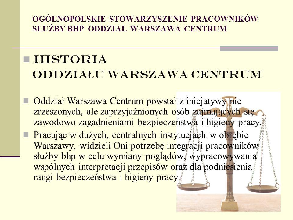 HISTORIA ODDZIA Ł U WARSZAWA CENTRUM Oddział Warszawa Centrum powstał z inicjatywy nie zrzeszonych, ale zaprzyjaźnionych osób zajmujących się zawodowo zagadnieniami bezpieczeństwa i higieny pracy.