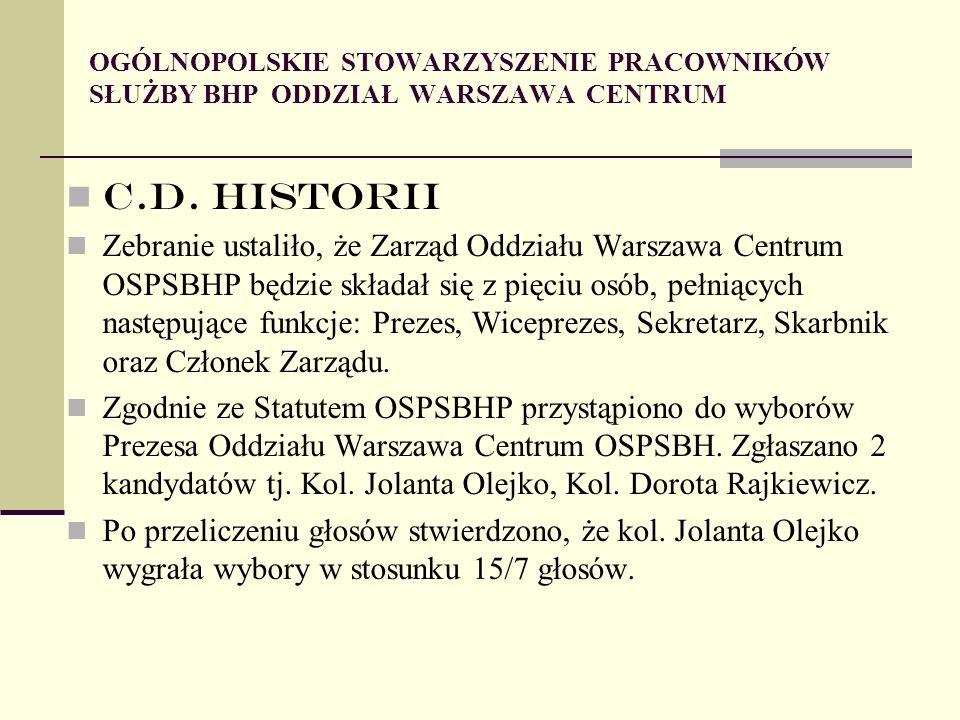 OGÓLNOPOLSKIE STOWARZYSZENIE PRACOWNIKÓW SŁUŻBY BHP ODDZIAŁ WARSZAWA CENTRUM C.D.