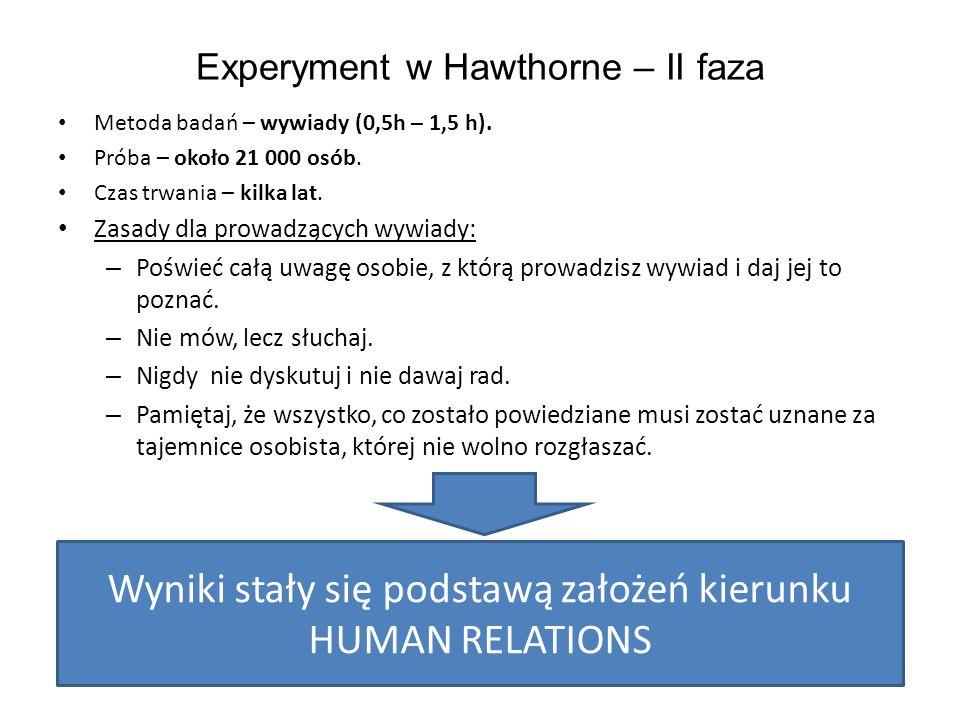 """Wnioski z II fazy eksperymentu w Hawthorne """"The Human problems of an Industruial Civilization – E."""