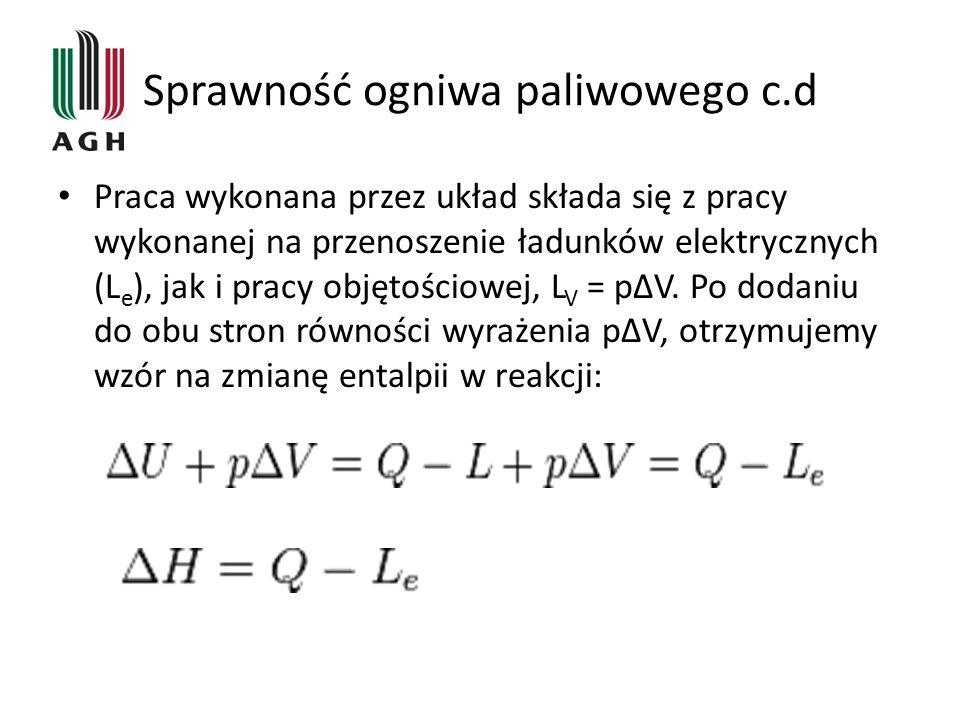 Sprawność ogniwa paliwowego c.d Praca wykonana przez układ składa się z pracy wykonanej na przenoszenie ładunków elektrycznych (L e ), jak i pracy objętościowej, L V = pΔV.