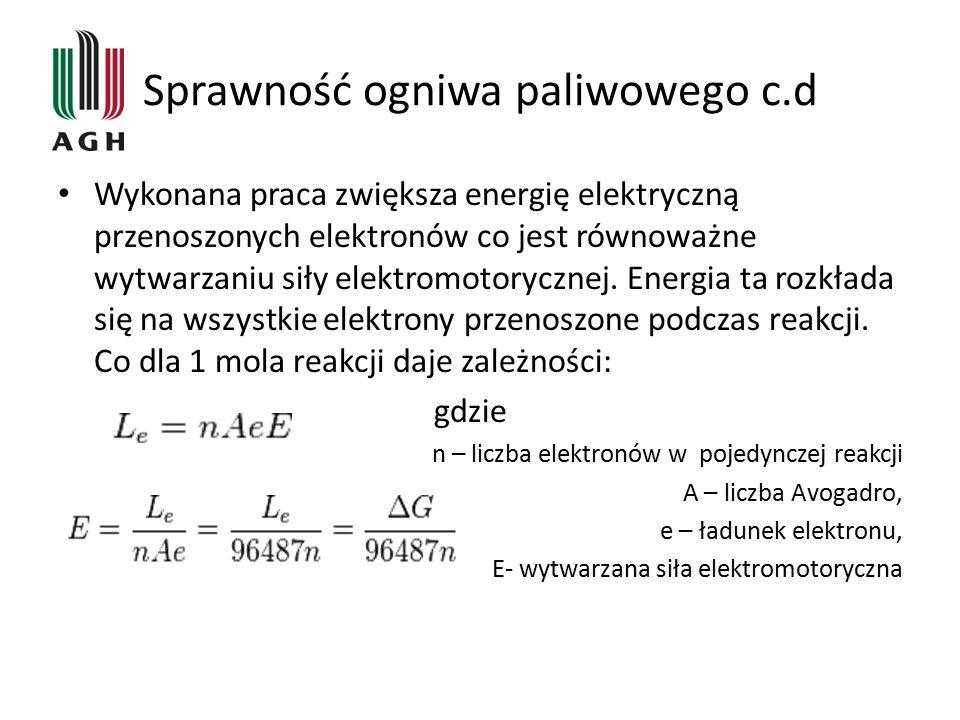 Sprawność ogniwa paliwowego c.d Sprawność ogniwa określa się jako stosunek energii elektrycznej do całkowitej energii możliwej do uzyskania w wyniku tej reakcji.