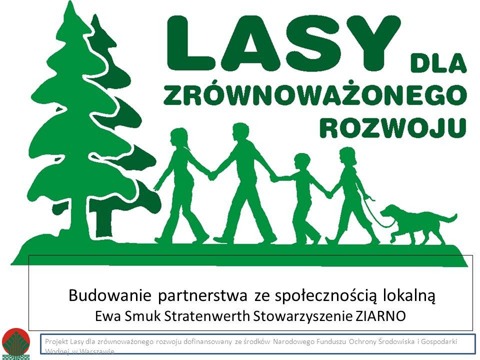 Kliknij, aby edytować styl Projekt Lasy dla zrównoważonego rozwoju dofinansowany ze środków Narodowego Funduszu Ochrony Środowiska i Gospodarki Wodnej w Warszawie Budowanie partnerstwa ze społecznością lokalną Ewa Smuk Stratenwerth Stowarzyszenie ZIARNO