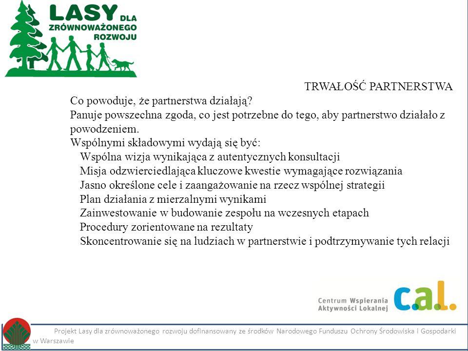 Kliknij, aby edytować styl Projekt Lasy dla zrównoważonego rozwoju dofinansowany ze środków Narodowego Funduszu Ochrony Środowiska i Gospodarki Wodnej w Warszawie Imię i nazwisko Projekt Lasy dla zrównoważonego rozwoju dofinansowany ze środków Narodowego Funduszu Ochrony Środowiska i Gospodarki Wodnej w Warszawie TRWAŁOŚĆ PARTNERSTWA Co powoduje, że partnerstwa działają.