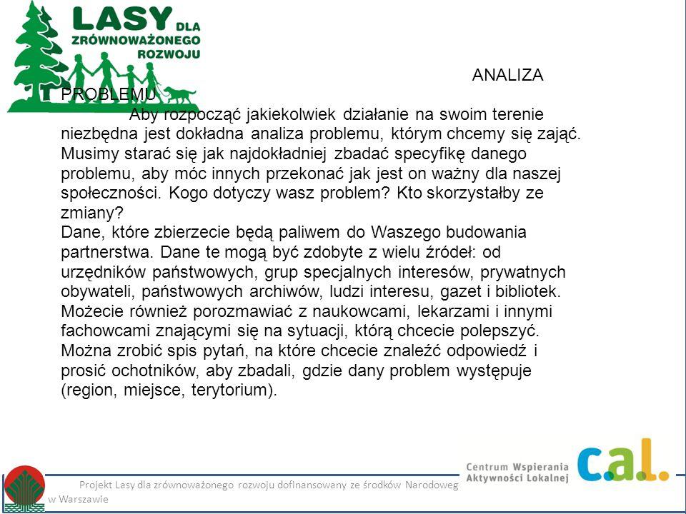 Kliknij, aby edytować styl Projekt Lasy dla zrównoważonego rozwoju dofinansowany ze środków Narodowego Funduszu Ochrony Środowiska i Gospodarki Wodnej w Warszawie Imię i nazwisko Projekt Lasy dla zrównoważonego rozwoju dofinansowany ze środków Narodowego Funduszu Ochrony Środowiska i Gospodarki Wodnej w Warszawie ANALIZA PROBLEMU Aby rozpocząć jakiekolwiek działanie na swoim terenie niezbędna jest dokładna analiza problemu, którym chcemy się zająć.