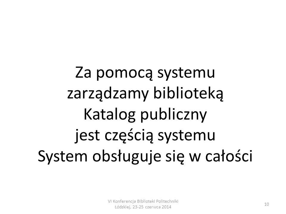 10 Za pomocą systemu zarządzamy biblioteką Katalog publiczny jest częścią systemu System obsługuje się w całości