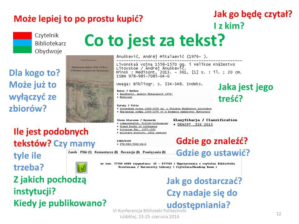 VI Konferencja Biblioteki Politechniki Łódzkiej, 23-25 czerwca 2014 12 Co to jest za tekst.